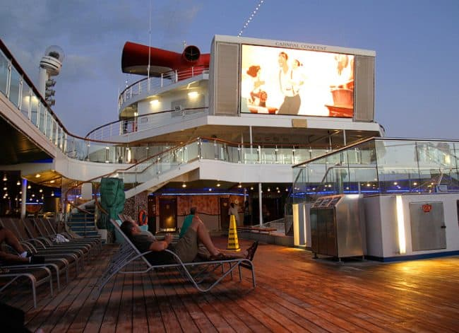 Tips for a Cruise Vacation with Young Kids. Outdoor Movie Night on Carnival Cruise Ship. Travel blogger review of Carnival.