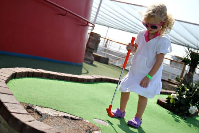 Tips for a Cruise Vacation with Young Kids. Put put golf. Travel blogger review of Carnival.