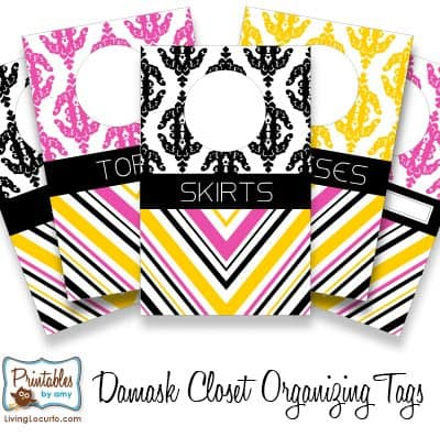 Printable Damask Closet Organizer Tags
