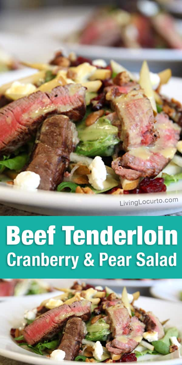 Beef Tenderloin Salad Recipe. A delicious savory and sweet cranberry and pear healthy recipe topped with homemade honey mustard dressing. Perfect for lunch or dinner!