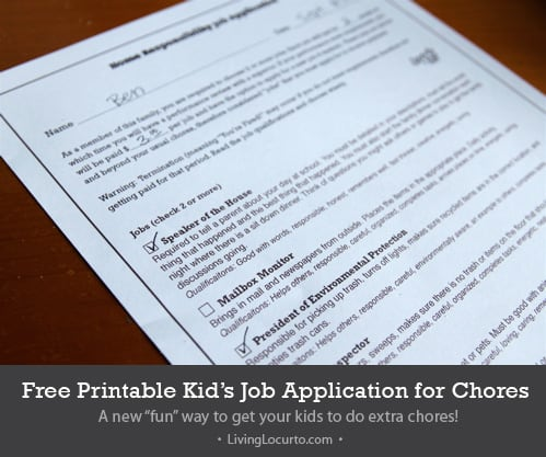 Kid Job Application for Chores - Unique Idea! Free Printable Chore Chart by Living Locurto