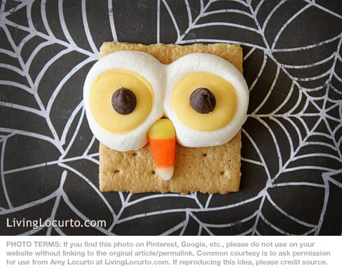 Halloween Owl S'mores Recipe by Amy Locurto at LivingLocurto.com | Fun Food Idea