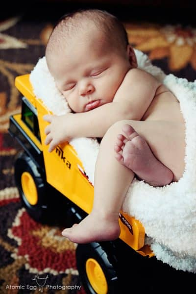 Tonka Truck Newborn Baby Photo by Amy Locurto LivingLocurto.com