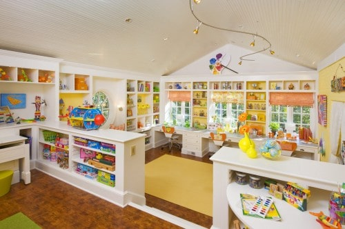 Amazing Kids Craft Room - House Tour - design by Margaret Norcott of Milieu Design Group