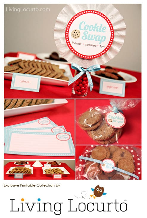 Fun Cookie Swap Party Ideas. Christmas printables with party invitations, recipe cards, labels and tags! Tips for how to do a cookie exchange.