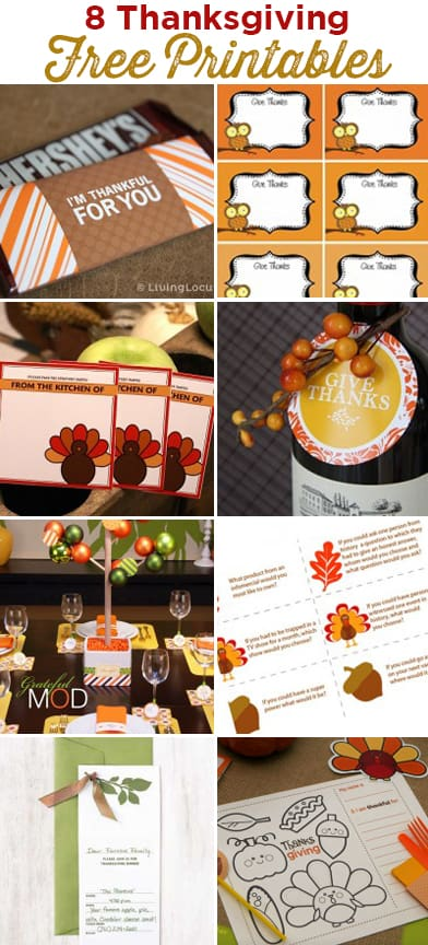 8 Thanksgiving Free Party Printables. LivingLocurto.com