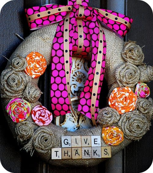 Thanksgiving Burlap Holiday Wreath | Scrabble Tiles | Living Locurto