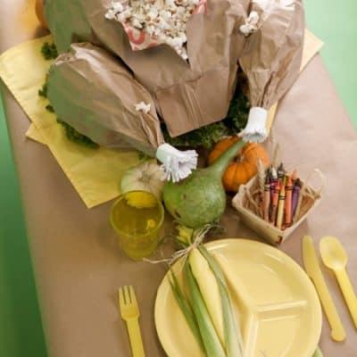 Paper Turkey Popcorn Thanksgiving Feast