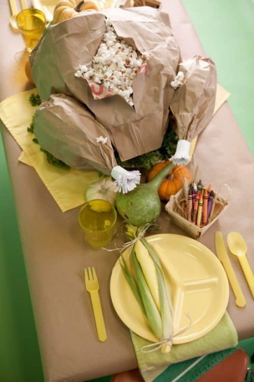 Paper Turkey Popcorn Thanksgiving Feast - Cute DIY Fun Food Idea!