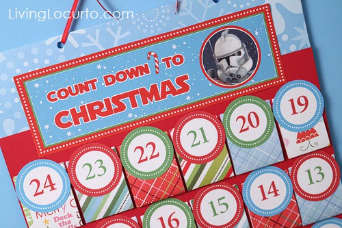 Printable DIY Christmas Advent Calendar. Personalize each day before printing! Choose from Santa, Nativity or Star Wars themes. Fun Holiday Paper craft.