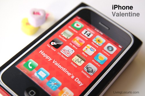 iPhone Valentine - Free Printable - Living Locurto