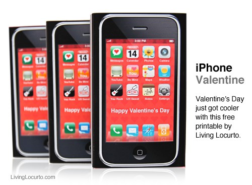 Cute iPhone Valentine. Free Printable by Amy Locurto of LivingLocurto.com #Valentine