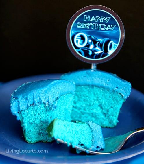 Tron Neon Blue Cupcake Living Locurto