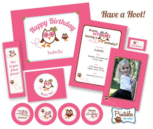 Pink Owl Birthday Party Collection - Printables by Amy at Living Locurto PrintablesbyAmy.com