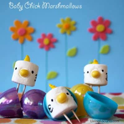 Baby Chick Marshmallows Cute Party Food | Free Printable Easter Card