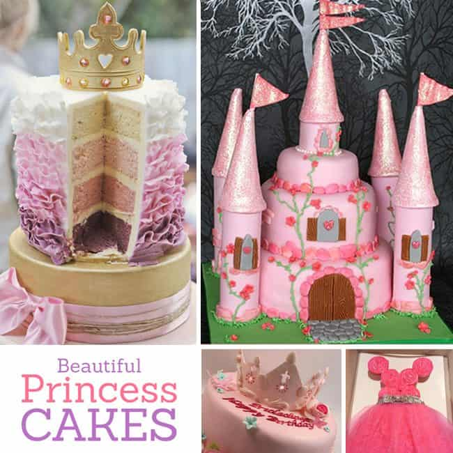 Inspiring princess cakes for a royal princess party! Cute birthday cake ideas for girl birthday party theme or the princess in your life.