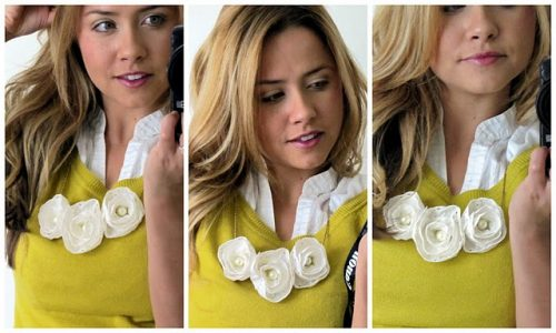 Fabric Flower necklaces - How to Make Fabric Flowers – 7 Easy No Sew Tutorials featured on Living Locurto