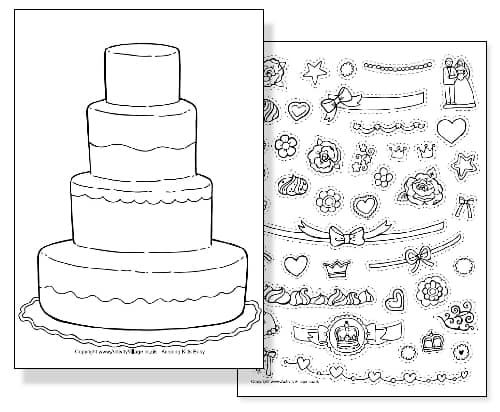 Prince William and Kate Middleton Royal Wedding Coloring Sheet - Cake