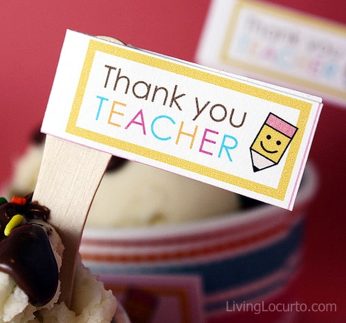 Teacher Appreciation Ice Cream Sundae Cupcakes & Free Printable