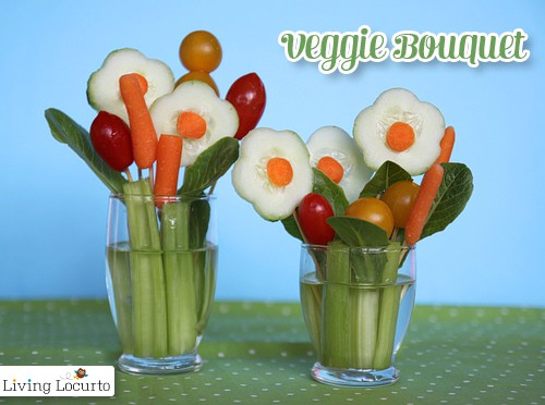 Veggie Flower Bouquet Treat by LivingLocurto.com