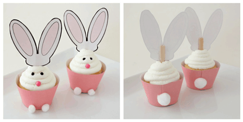 easter bunny cupcakes ears - free printable