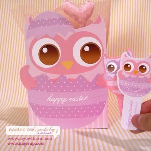 Free Printable Easter Owl Bag & Bookmarks
