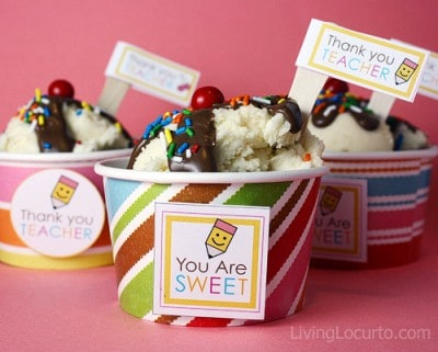 Teacher Appreciation Gift - Recipe - Ice Cream Sundae Cupcakes - Free Printables