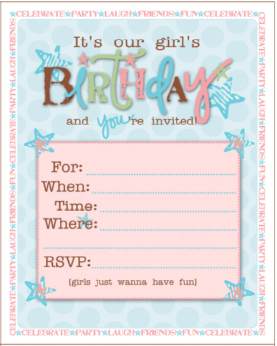 Birthday party ideas for girls free printables free birthday party invitations filmwisefo Image collections