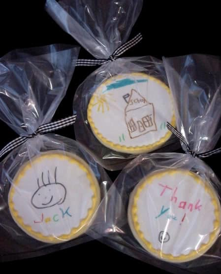 Bake at 350 made cookies and her son drew sweet thank you notes for his teachers.