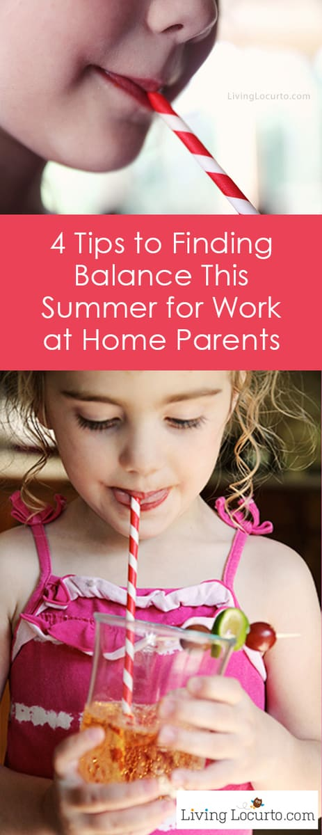 Tips to find balance during the summer for work at home moms and dads. How to survive summer with kids. Good advice for work from home parents.