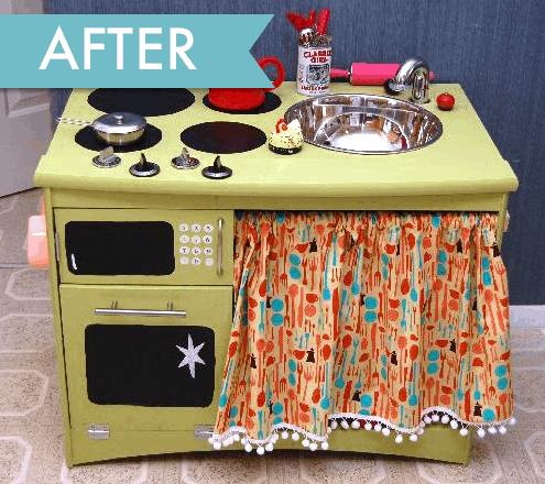 Cute Play Kitchen! DIY Trash to Treasure Idea.