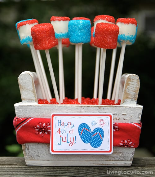 4th Of July Marshmallow Pops Red White And Blue Dessert
