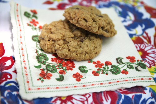 cookies with vintage napkins