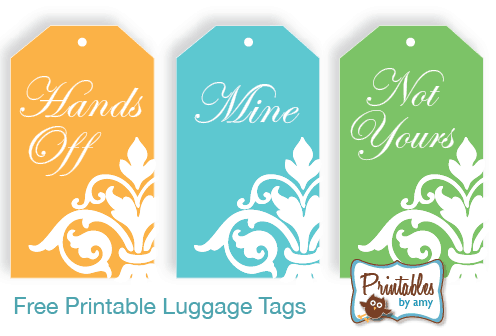 graphic relating to Free Printable Luggage Tags called Cost-free Printable Baggage Tags