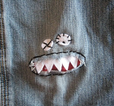 Turn holes in jeans into monsters with this fun sewing tutorial. A great idea for a Halloween costume too. Monster knee patch.