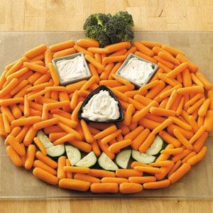 Creative Vegetable Tray Ideas - Halloween Pumpkin Veggie Tray