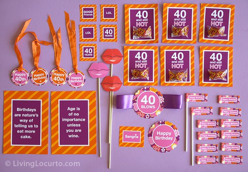 40th Birthday Party Printables