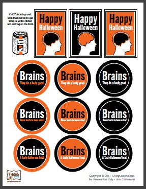 Free Party Printables - Halloween Brains in Jar Labels