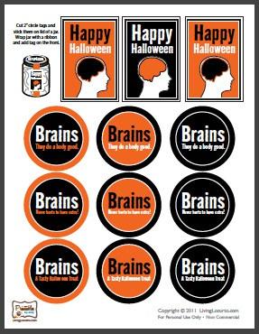 Grátis Printables Party - Cérebros de Halloween em etiquetas Jar
