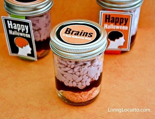 Halloween Recipe- Brains in Jar Cake | Free Party Printables | LivingLocurto.com