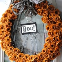 Felt Flower Halloween Wreath