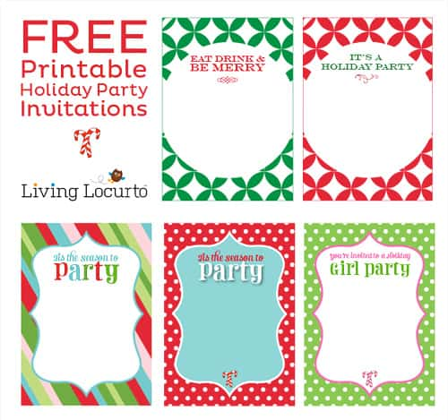 Free Printable DIY Holiday Party Invitations - Customize and print! LivingLocurto.com