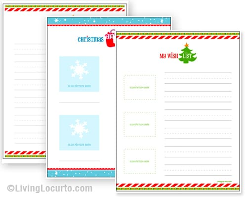 Holiday Christmas Gift Wish List Free Printable. Kids Activity Sheet.  LivingLocurto.com  Free Christmas Wish List