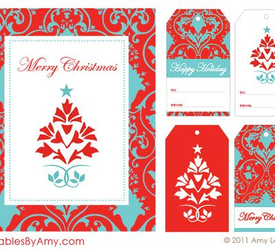 Red & Aqua Holiday Party Printables