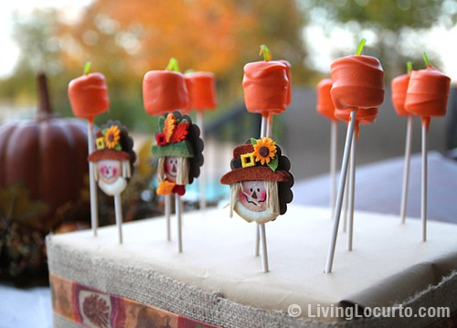 Pumpkin marshmallow pops