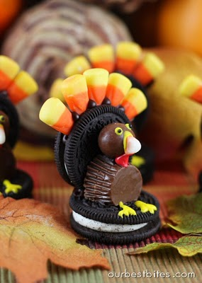 Oreo Turkey Treats - Creative Turkey Treats! Fun food kids recipes to make Thanksgiving extra special. Cookies, vegetables, candy, and Rice Krispies treats shaped like turkeys.