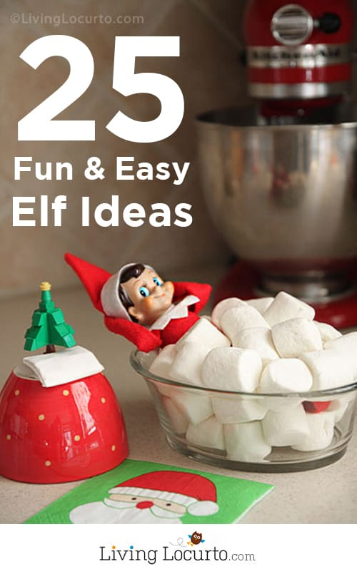 25 Elf On The Shelf Ideas! Over a month of Fun DIY Ideas for Kids at Christmas. LivingLocurto.com