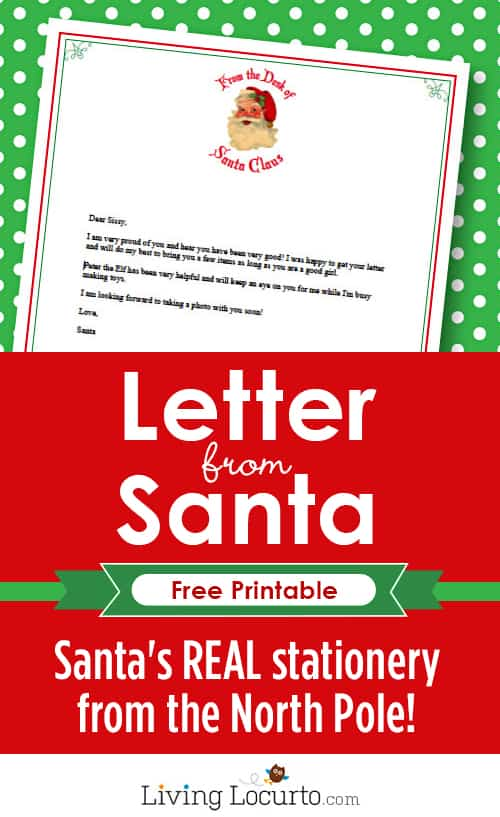 Letter From Santa - Free Printable Santa Stationery from the North Pole! LivingLocurto.com