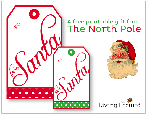 Free Santa gift tags direct from The North Pole! Download these free printables for Christmas gift fun. LivingLocurto.com