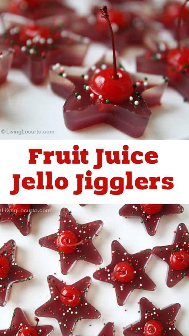 A fun and easy party recipe idea with jello. These Fruit Juice Cherry Jello Jigglers are great for both kids and adults! Homemade jello shots.